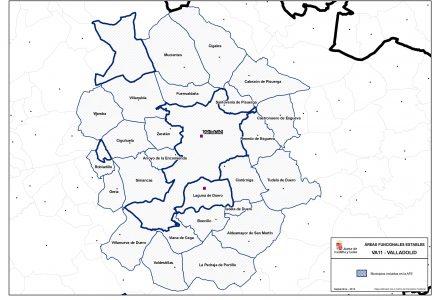Figura 1: Área Funcional Estable de Valladolid. Ámbito de la MIG. Fuente: JCyL